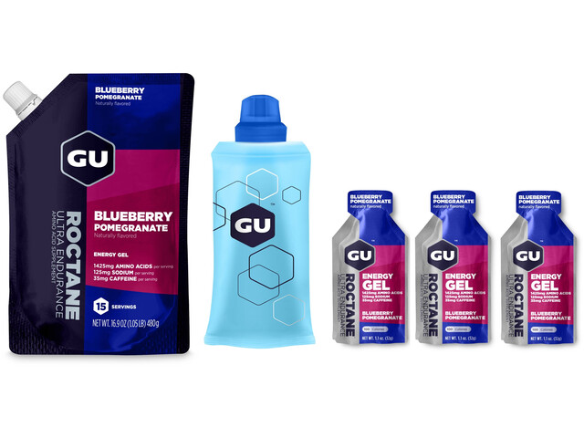 GU Energy Roctane Energy Gel Bundle Beutel 480g + Gel 3x32g + Flask Blueberry Pomegranate